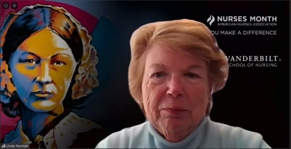 VUSN Dean Linda Norman in front of Zoom background saluting National Nurses Month and Florence Nightingale