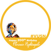Gold circle with image of Florence Nightingale. Text reads Happy 200th Birthday Florence Nightingale #VUSN