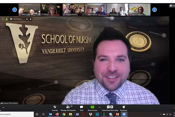 VUSN alumni board president Joshua Thornberry on a Zoom conference call for May 2020 Pinning