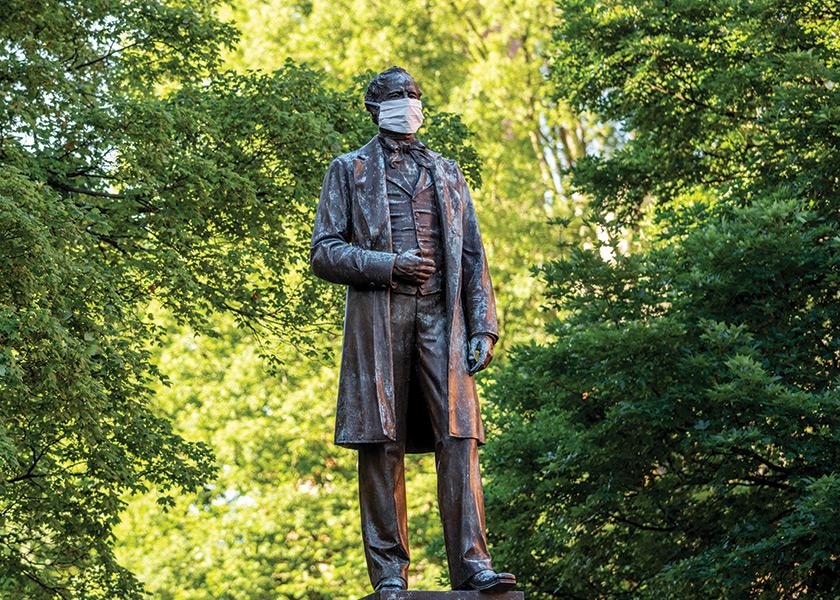Cornelius Vanderbilt statue with mask