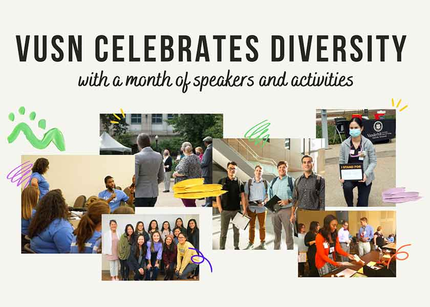 Image reads: VUSN Celebrates Diversity with a Month of speakers and activities. Six photos show students of different backgrounds.