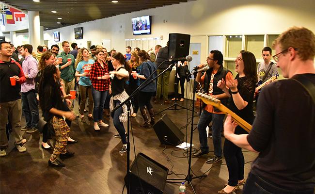 Vanderbilt MBA students enjoy music, dancing and having fun together.