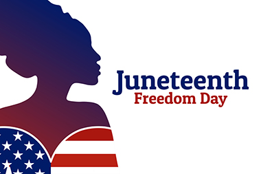 "Silhouette of Black female dressed in Stars & Stripes next to the words, ""Juneteenth. Freedom Day."""