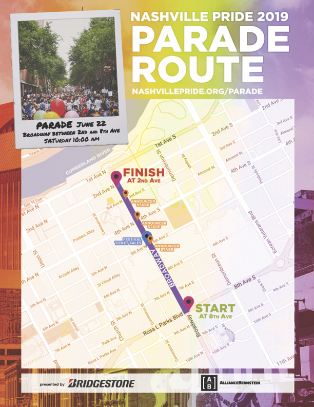 Nashville Pride Parade Route Map 2019