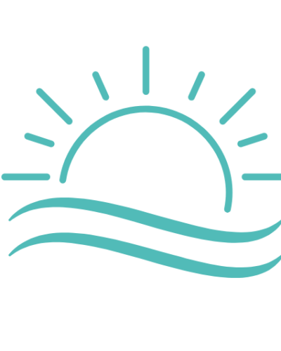 rising sun graphic in teal blue