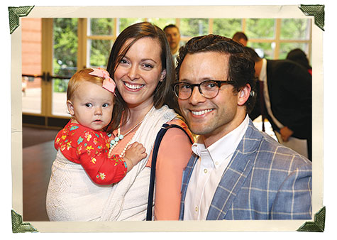 Clare Stanton, MSN'15, and Kalen Stanton, MBA'13, introduce their daughter to Owen.