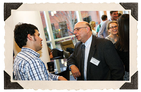 Rising second year Daniel Reches with Dave Berezov, EMBA'80