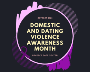 Purple circle with words Domestic Violence Awareness Month inside it