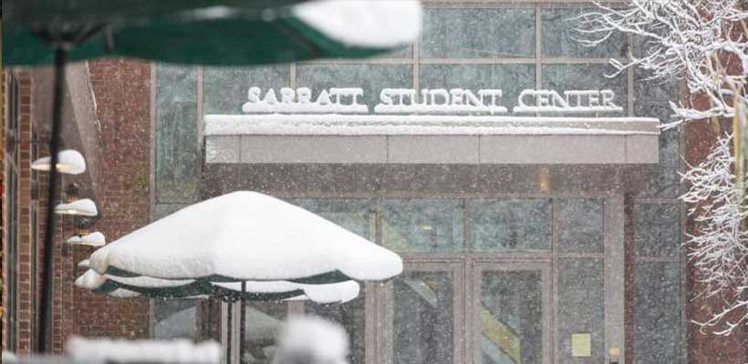 A photo of the entrance to Sarratt on a snowy day