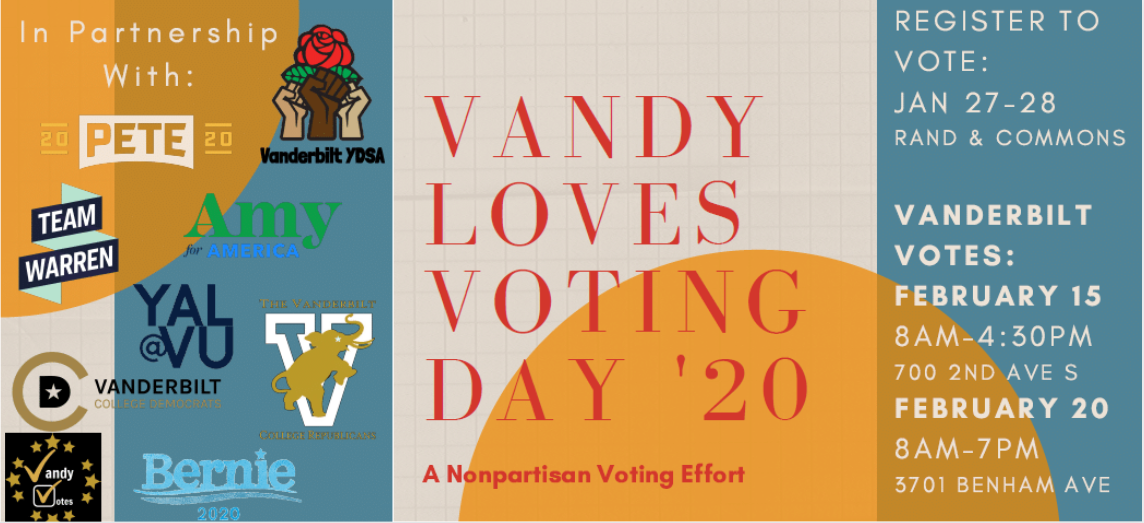 Image shows information for Vanderbilt votes, which is taking place January 27-28 at Rand and the Commons, February 15th from 8am-4:30pm at 700 2nd Avenue South, or Feb 20th from 8am-7pm at 3701 Benham Avenue.