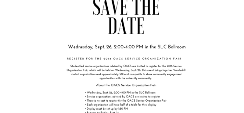 OACS Service Organization Fair SAVE THE DATE!