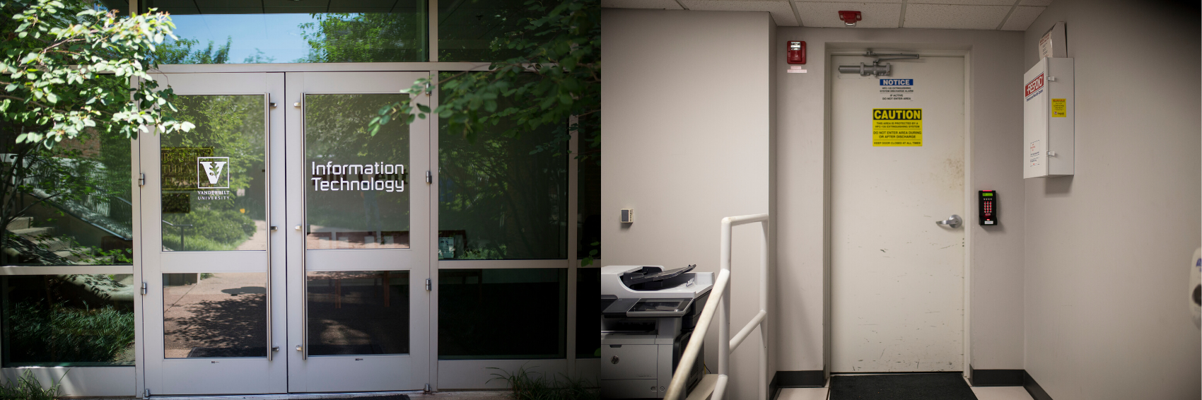 On left, the doors to the ACCRE building. On right, a heavy door and security panel that leads to the data center.