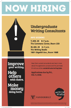 Poster calling for Undergraduates to apply to be Writing Consultants for 2018-2019