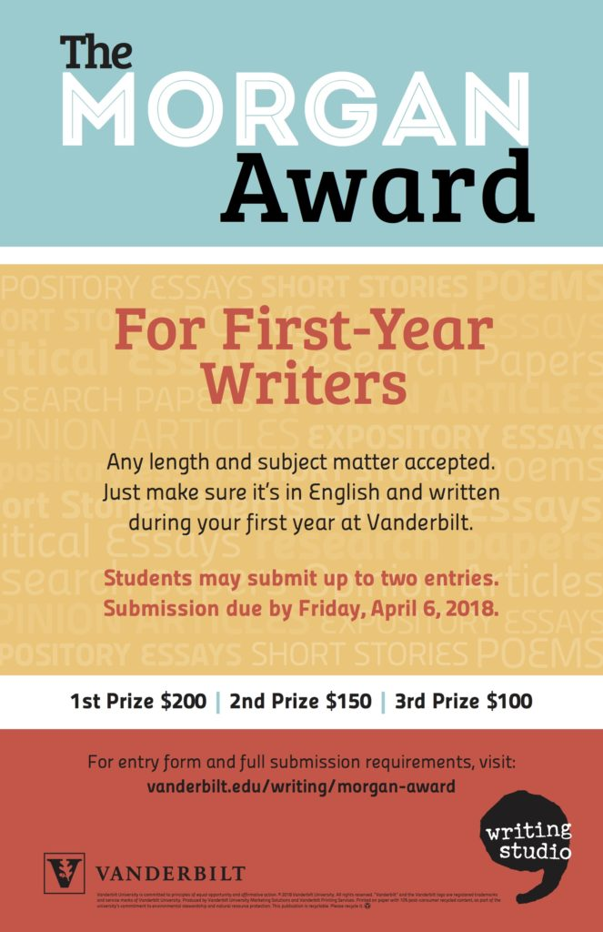 A poster encouraging first-year students to submit their best work for the Morgan Award for First-Year Writers