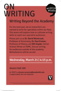 Poster for On Writing happening March 14 at 4:15
