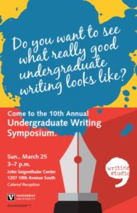 Invitation to attend the Undergraduate Writing Symposium on March 25, 2018