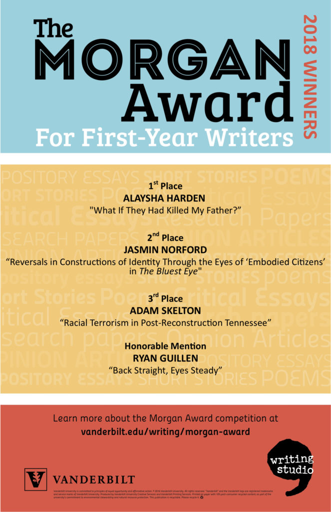 This poster lists the winners of the 2018 Morgan Award for First-Year Writers competition