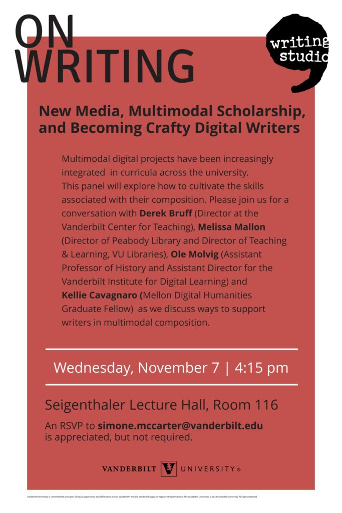 Poster for On Writing event taking place November 7, 2018 at 4:15pm