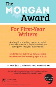 A colorful poster the middle section of which contains background text emphasizing the wide range of writing that can be submitted for the Morgan Award from essays to creative writing.