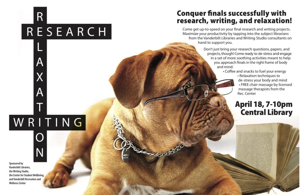 A poster featuring a dog in glasses in the center and details about the Writing, Research, and Relaxation Night event on either side.