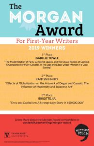 A brightly colored poster listing the first, second, and third place winners of the 2019 Morgan Award competition.