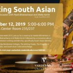 Poster promoting the Writing South Asian event on Tuesday 11/12 5-6pm featuring candles against a dark background on the left and a hands decorated with henna coming together on the right. In the foreground is text about the event itself.