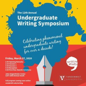 Against background the top half of which is yellow and the bottom half red, this poster promoting the 12th annual Undergraduate Writing Symposium features a central splash of blue ink extending from the tip of fountain pen pictured at the bottom center of the image.