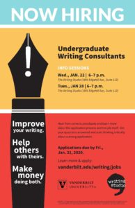 This poster calling for undergraduate writing consultant applications features the silhouette of a fountain pen in black with an exclamation point near tip