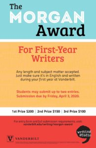 Bars of Blue, Yellow, and Red with white dividers are the background to this poster encouraging submission for the Morgan Award in Spring 2020