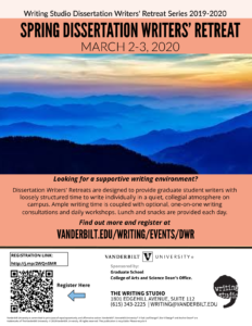 Poster of Spring Dissertation Writers' Retreat, March 2-3