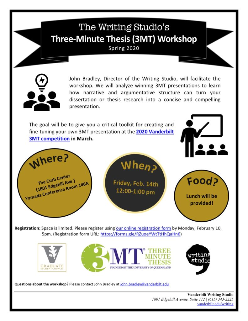 A flyer with a white background, a bonner across the top promotes the Writing Studio's Three-Minute Thesis workshop for Spring 2020. Alternating black and gold circles promote location, time, and that lunch will be provided.