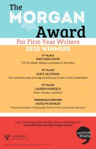 This colorful poster with a bands of light blue, orange, and red as background lists the first, second, and third place winners of the 2020 Morgan Award for First-Year Writers
