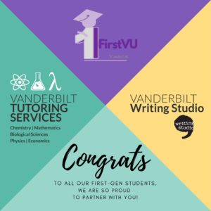 A square image divided into purple. yellow, lighter green, and darker green bearing a message of support for first-generation students from the Writing Studio and Tutoring Services
