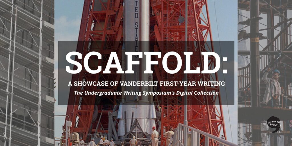 The title of the Scaffold collection appears in front of an image in which red scaffolding surrounds a silver rocket being prepared for takeoff. On either side the rocket picture is framed by images of construction scaffolding around buildings in progress.