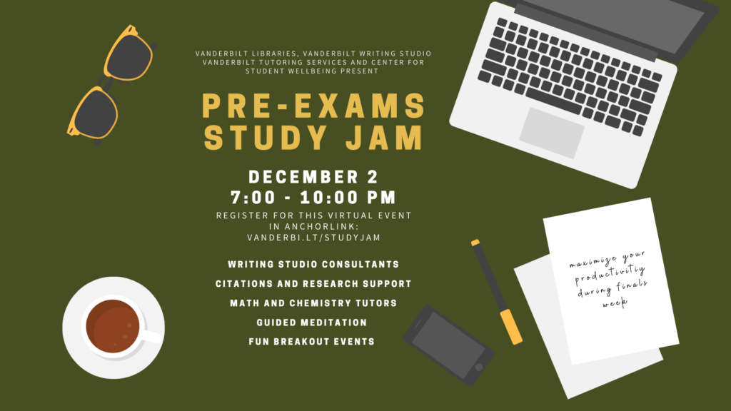 This promotional image for the Pre-Exams Study Jam features various items including a laptop, paper with handwritten notes, a pen, smart phone and cup of coffee scattered across a green background as if it were a desk.
