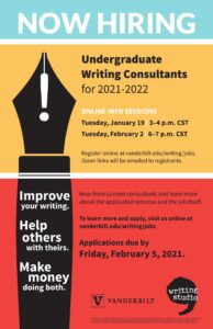 A colorful poster calling for undergraduate writing consultant applications by February 5, 2021, and promoting two info sessions prior to that date that students can learn more about on the Writing Studio website.