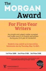 Bars of Blue, Yellow, and Red with white dividers are the background to this poster encouraging submission for the Morgan Award in Spring 2021