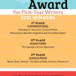 Bars of Blue, Yellow, and Red with white dividers are the background to this poster announcing the first, second, and third prize winners of the 2021 Morgan Award for First-Year Writers Competitions whose names also appear in the website announcement