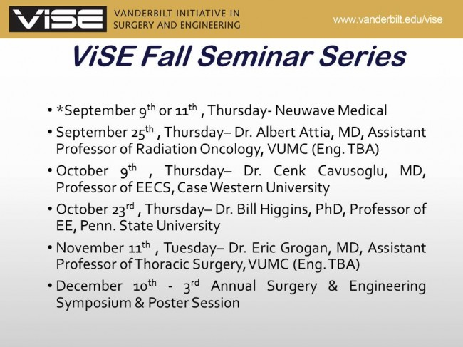 ViSE Fall Seminar Series Schedule | Vanderbilt Institute for