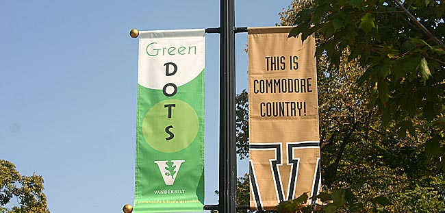 Green Dots are taking over campus! These Green Dots banners are on Vanderbilt Place for the months of October and April.