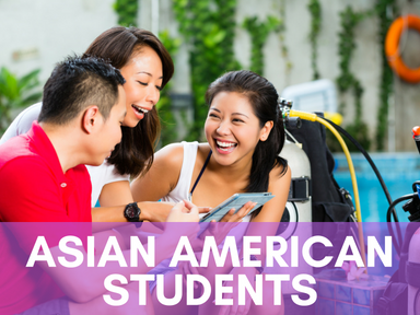 Click the link below this image to access our page for Asian American students.