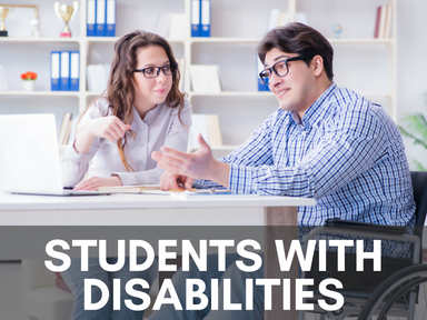 Click the link below this image to access our page for students with disabilities.