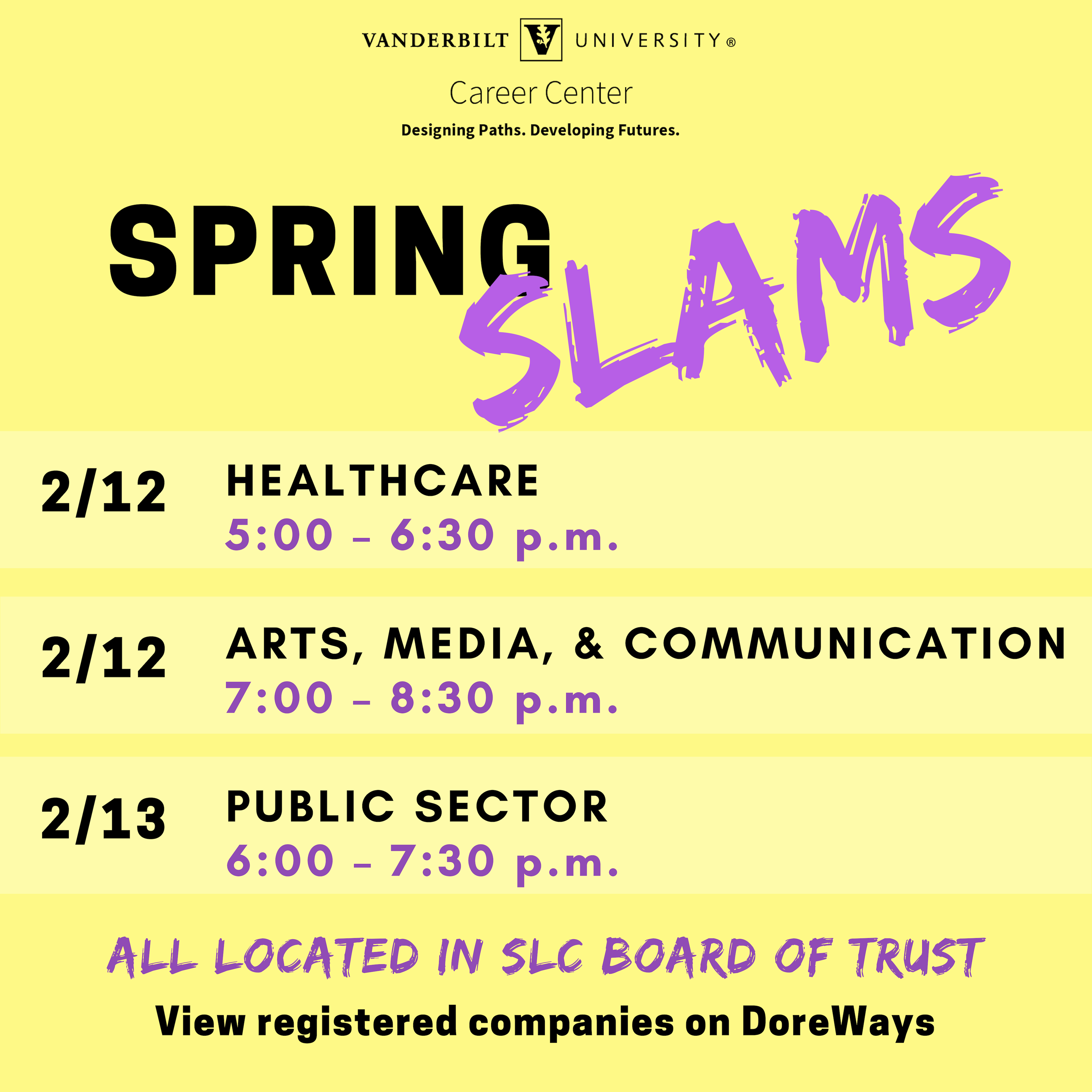 This graphic has information regarding our Spring SLAMs. All logistics can be found in DoreWays.