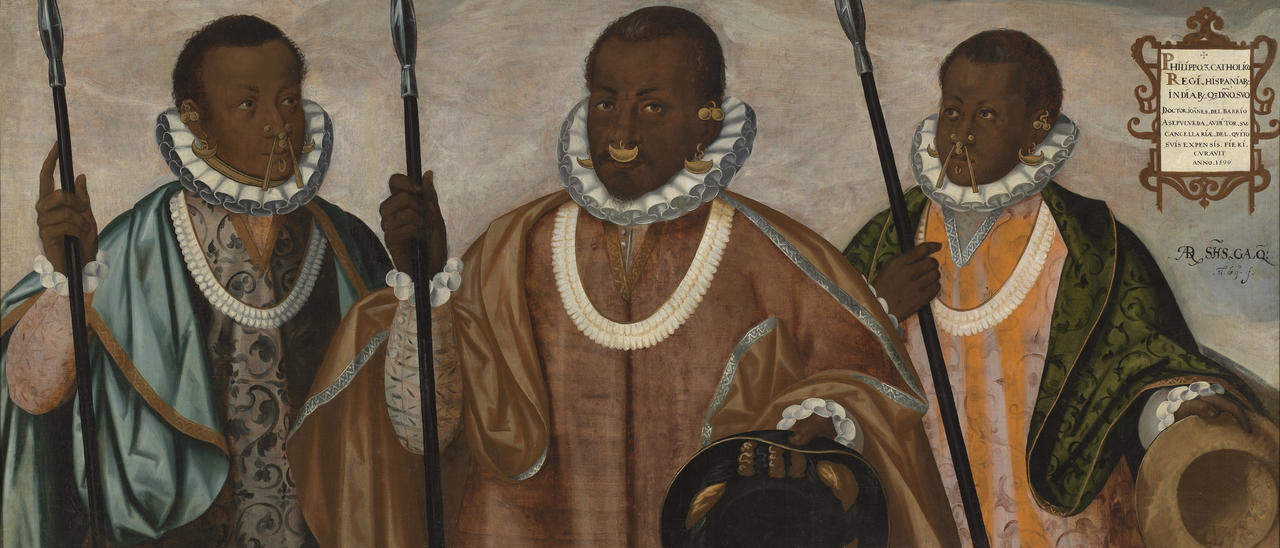 Sixteenth-century painting entitled The Mulatto Gentleman of Esmeraldas. It depicts three Afro-Indian men wearing Spanish style ruffs and luxurious robes. All three men are holding spears.