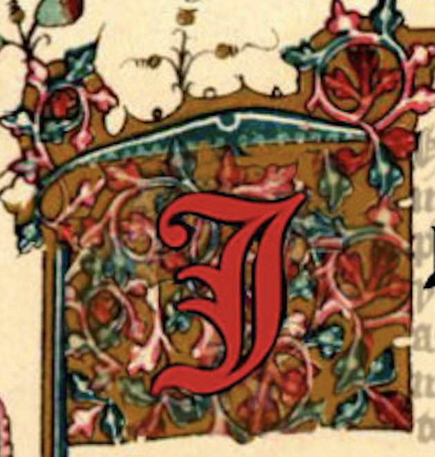Ornate J in red, set against a flowery flag.