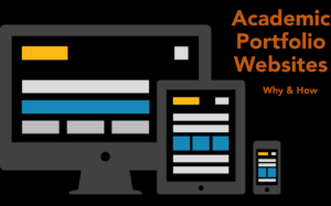 "Image of a pc, tablet, and phone next to the talk title: ""Academic Portfolio Websites: Why and How"""