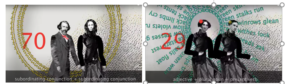 Two side by side images of a man and a woman shown in black and white and imposed before data graphs