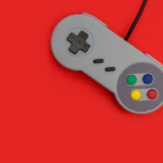 video game controller on red background