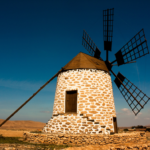 Stone Windmill with a blue sky