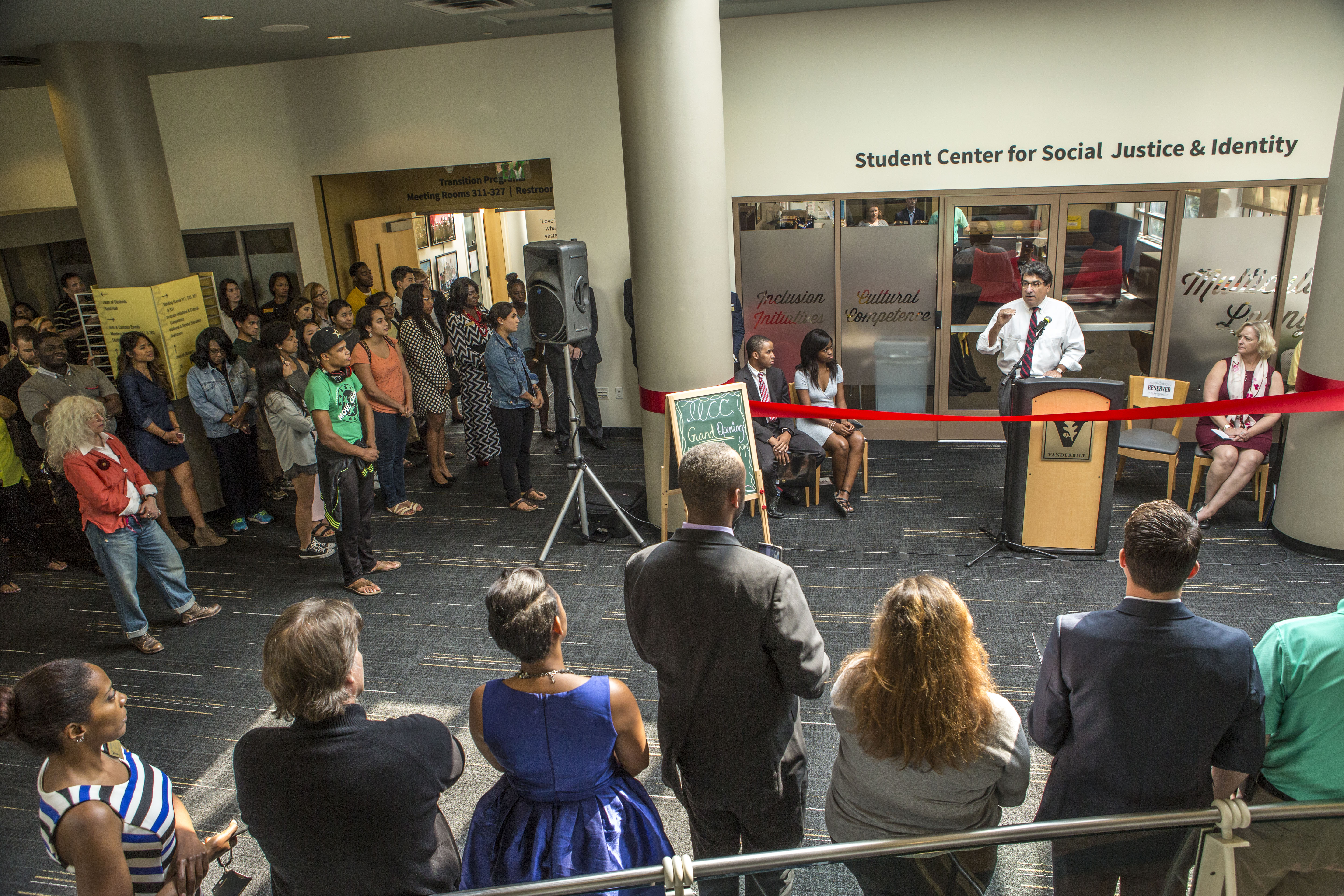 Chancellor Zeppos speaks at the Grand Opening of the Student Center for Social Justice & Identity.
